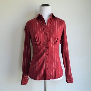 The Limited Burgundy Metallic Striped Blouse